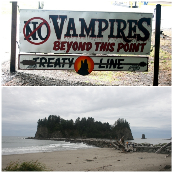 A huge sign right before reservation line XD and La Push beach.